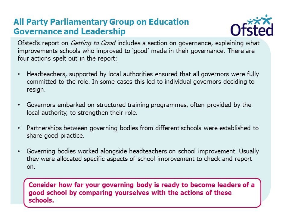 All Party Parliamentary Group on Education Governance and Leadership