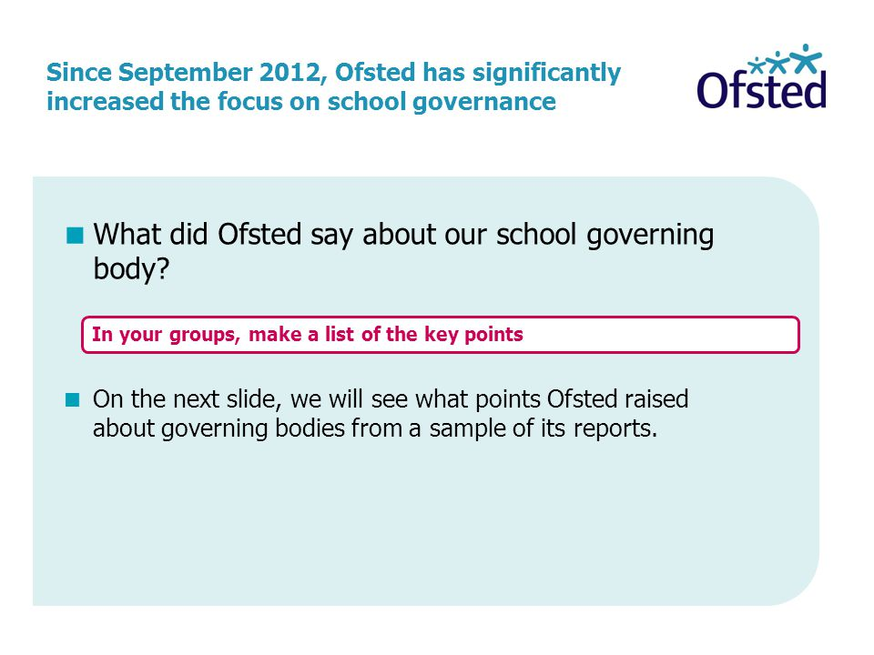 What did Ofsted say about our school governing body