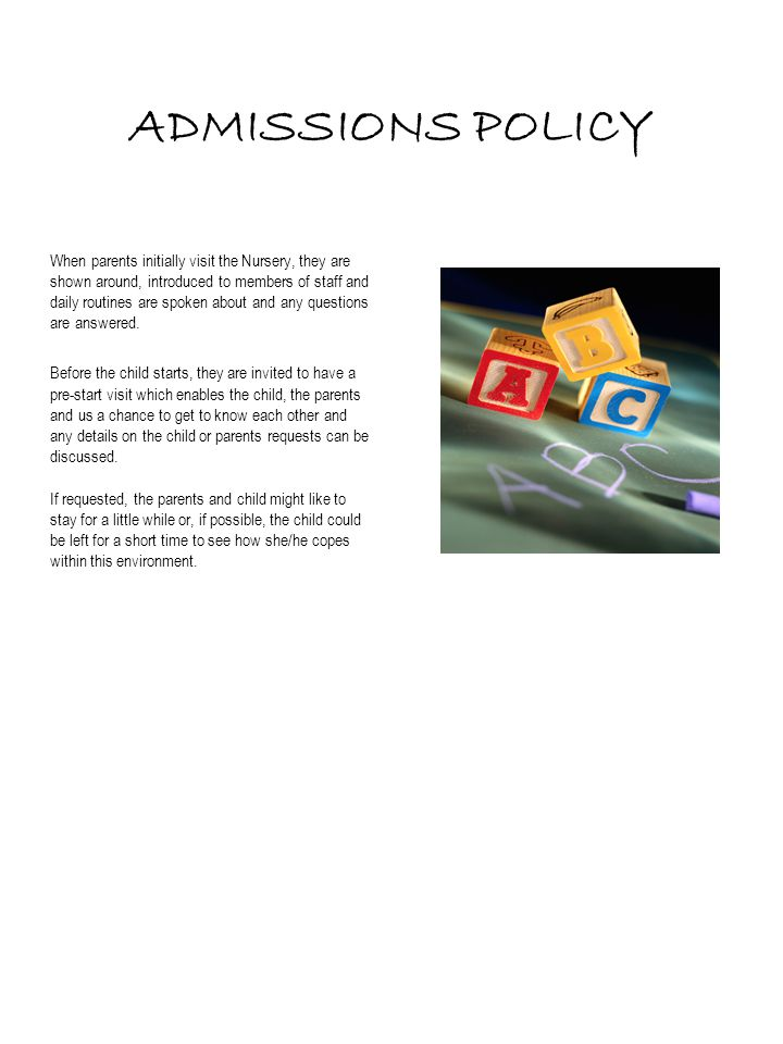ADMISSIONS POLICY