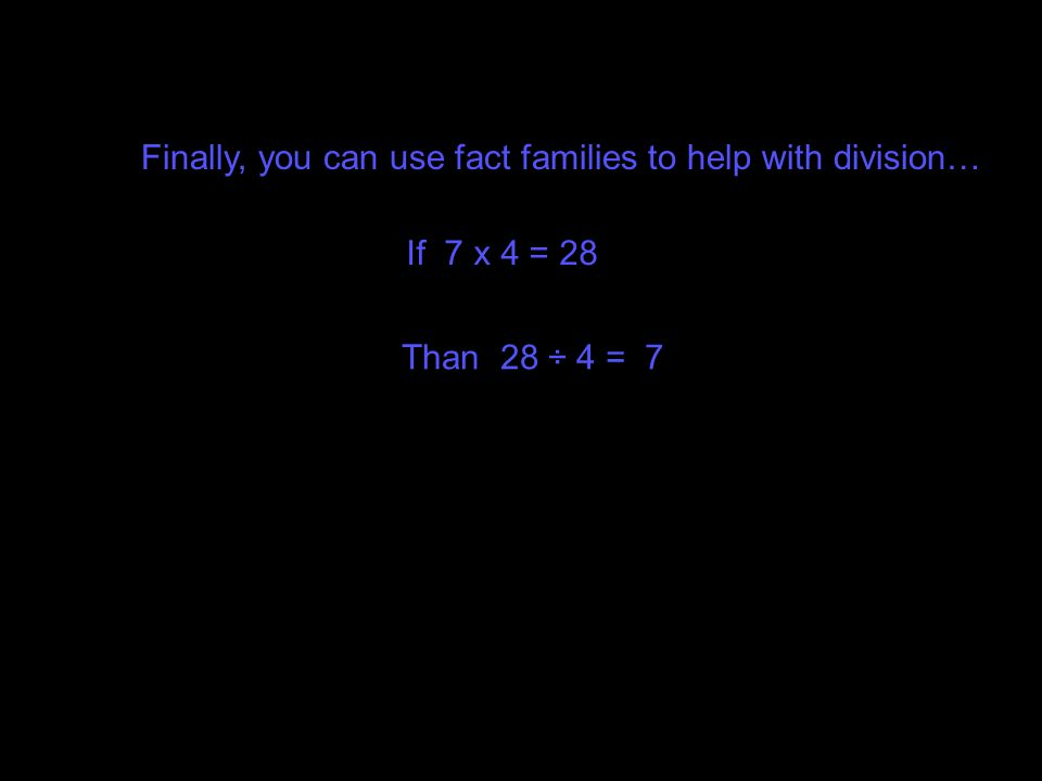 Finally, you can use fact families to help with division…