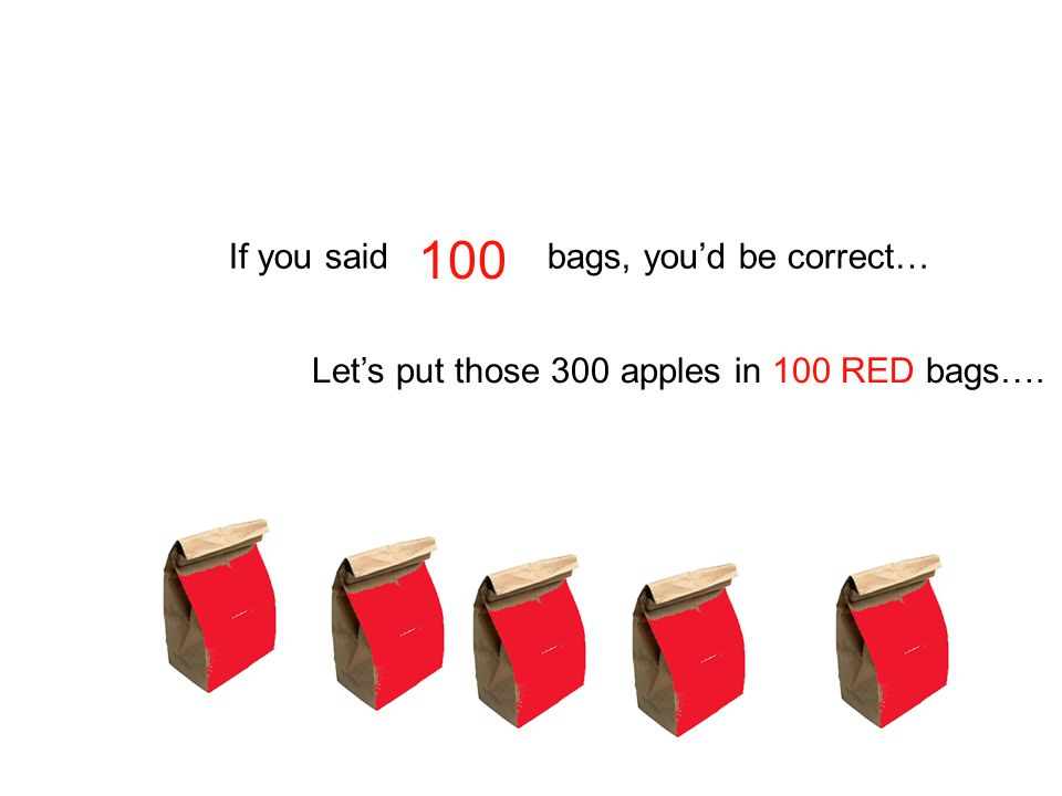 100 If you said bags, you'd be correct…