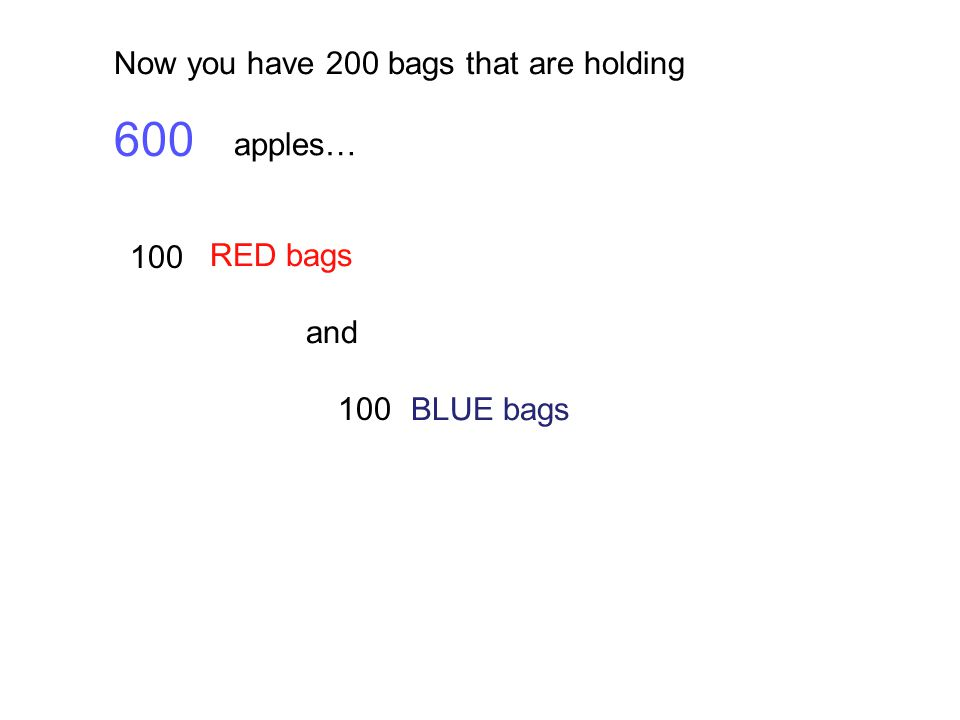 600 Now you have 200 bags that are holding apples… RED bags and