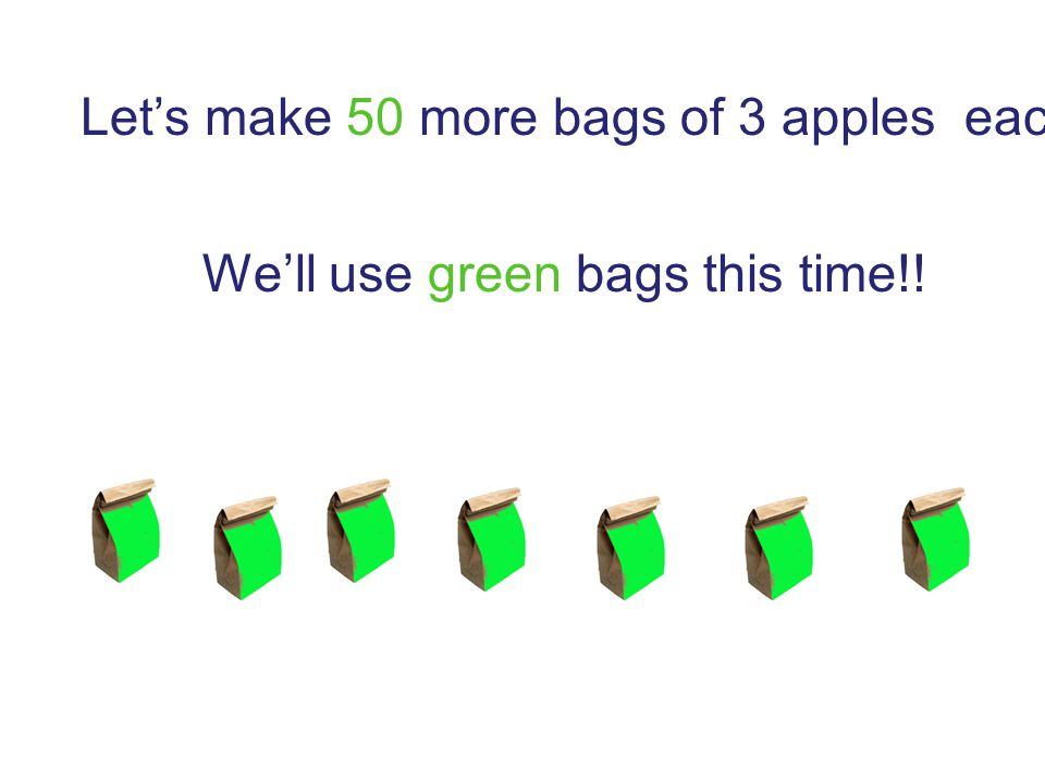 Let's make 50 more bags of 3 apples each!