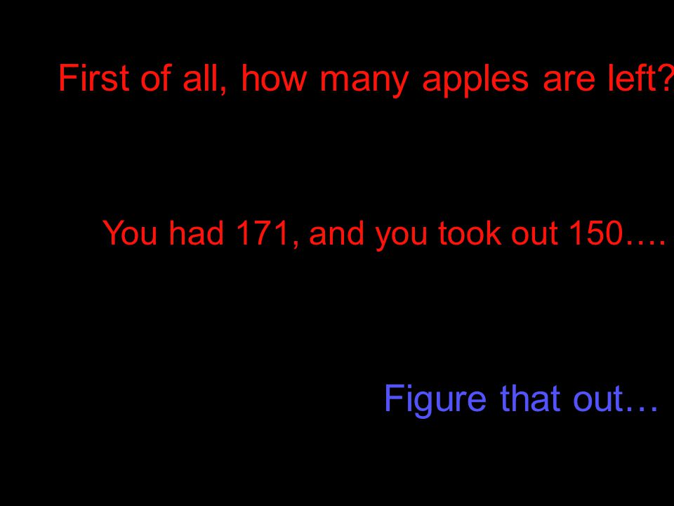 First of all, how many apples are left