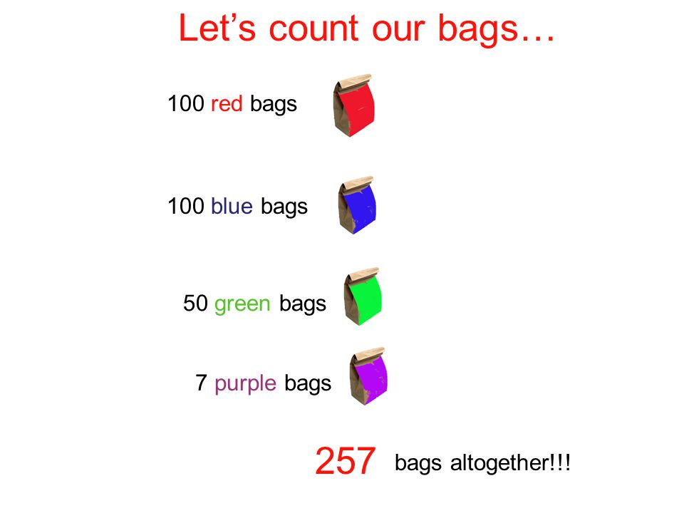 Let's count our bags… red bags 100 blue bags 50 green bags
