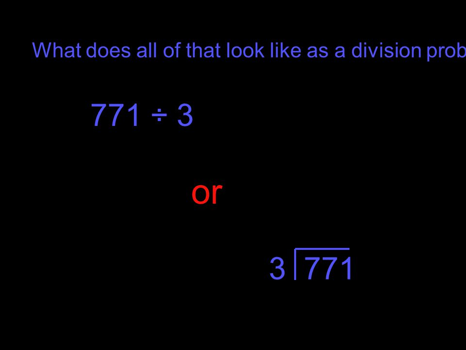 What does all of that look like as a division problem