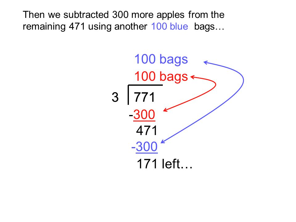 Then we subtracted 300 more apples from the