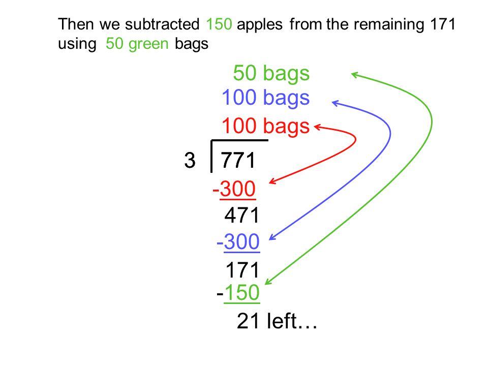 50 bags 100 bags 100 bags 3 3 771 771 -300 471 -300 171 -150 21 left…