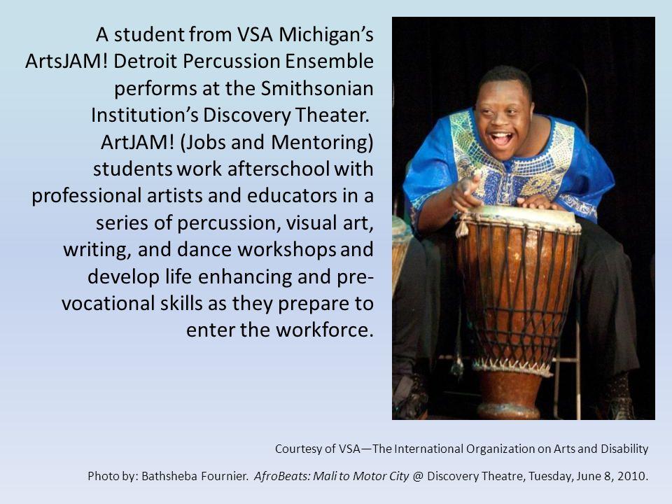 A student from VSA Michigan's ArtsJAM