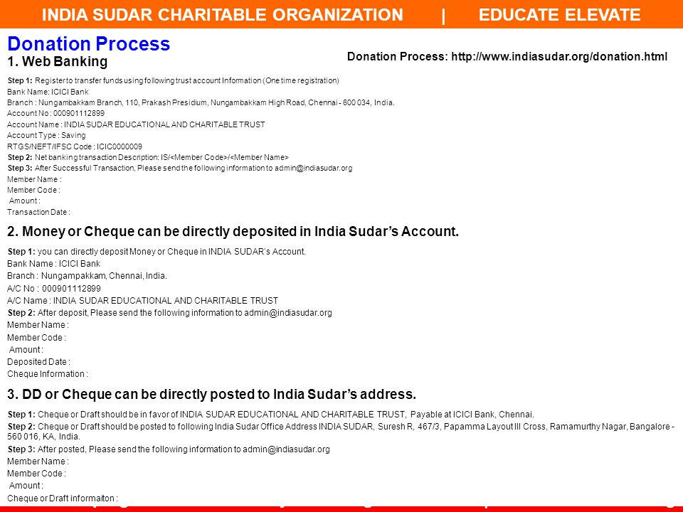 Donation Process 1. Web Banking