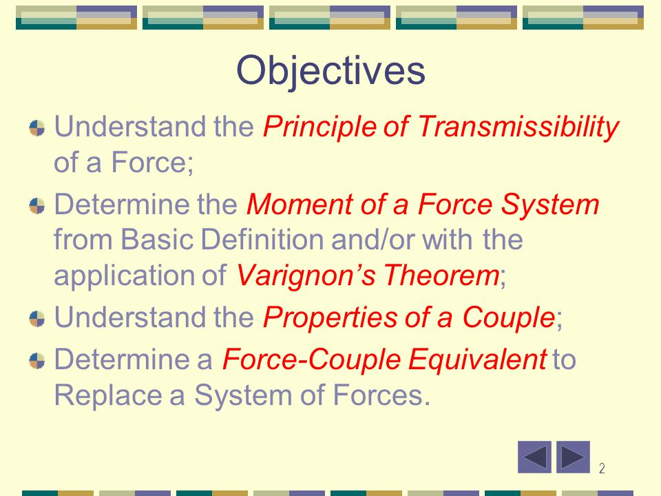 Objectives Understand the Principle of Transmissibility of a Force;