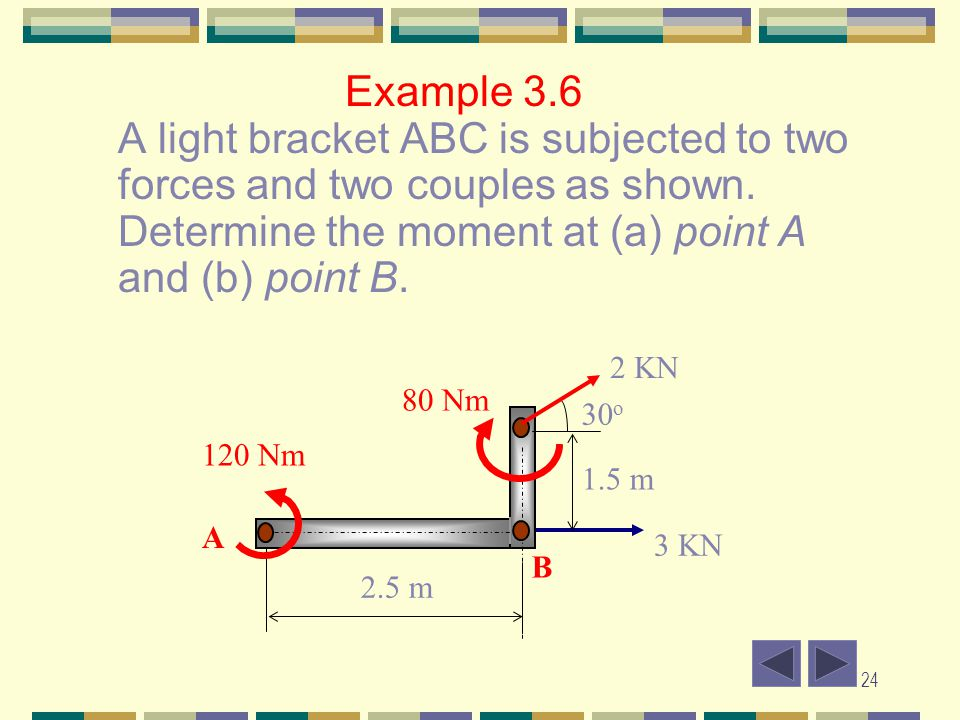Example 3.6 A light bracket ABC is subjected to two forces and two couples as shown. Determine the moment at (a) point A and (b) point B.