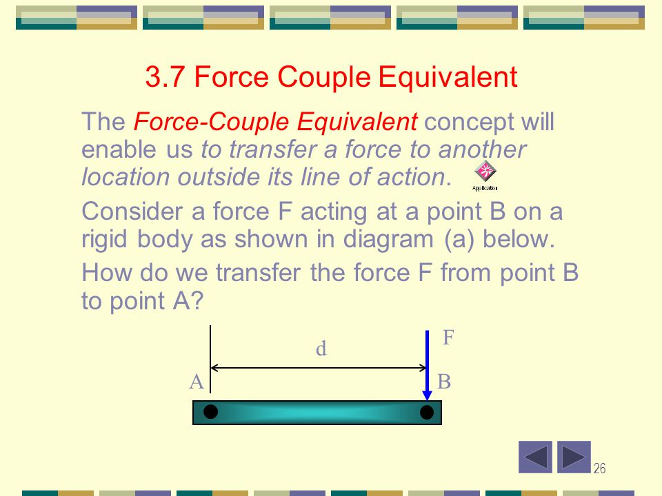 3.7 Force Couple Equivalent