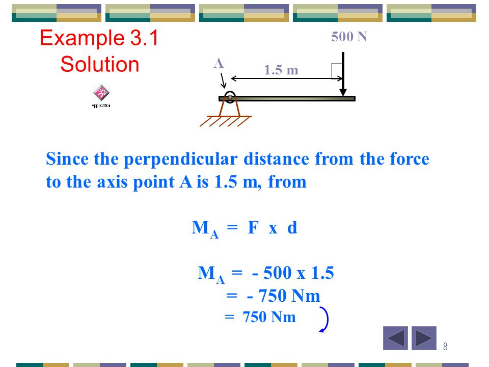 500 N Example 3.1 Solution. 1.5 m. A. Since the perpendicular distance from the force to the axis point A is 1.5 m, from.