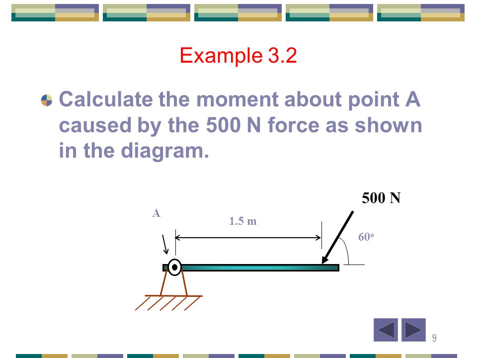 Example 3.2 Calculate the moment about point A caused by the 500 N force as shown in the diagram. A.