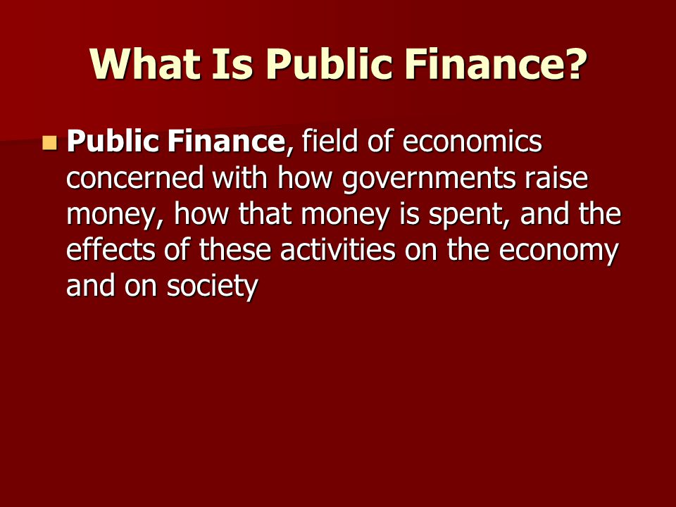 What Is Public Finance