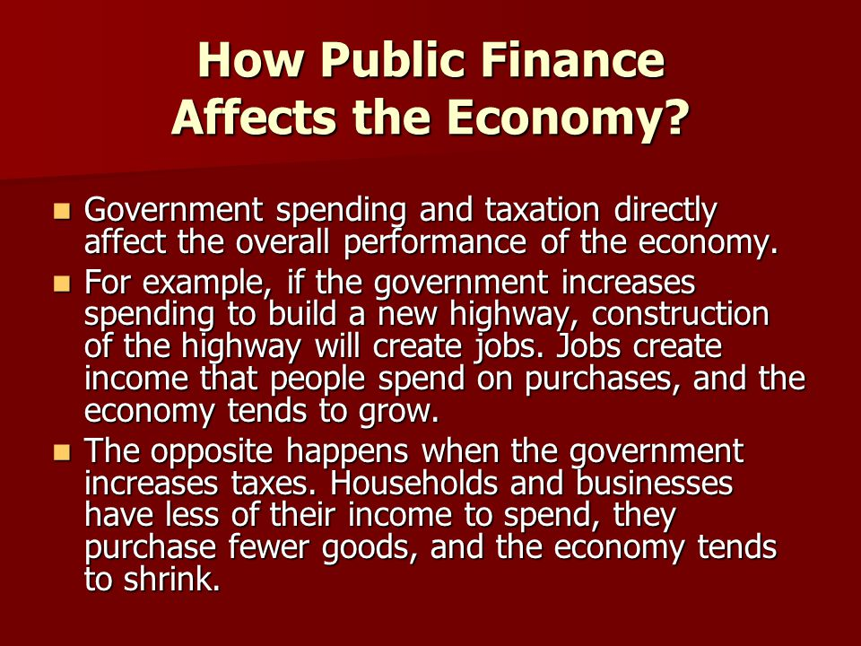How Public Finance Affects the Economy