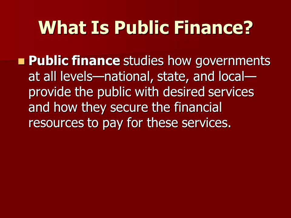 What Is Public Finance