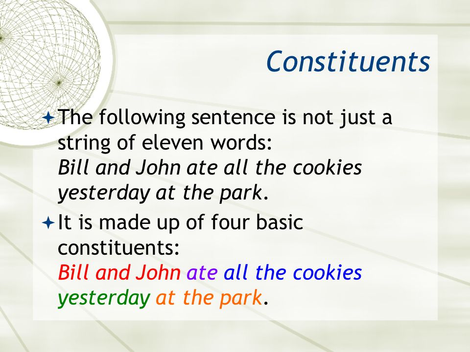 Constituents The following sentence is not just a string of eleven words: Bill and John ate all the cookies yesterday at the park.