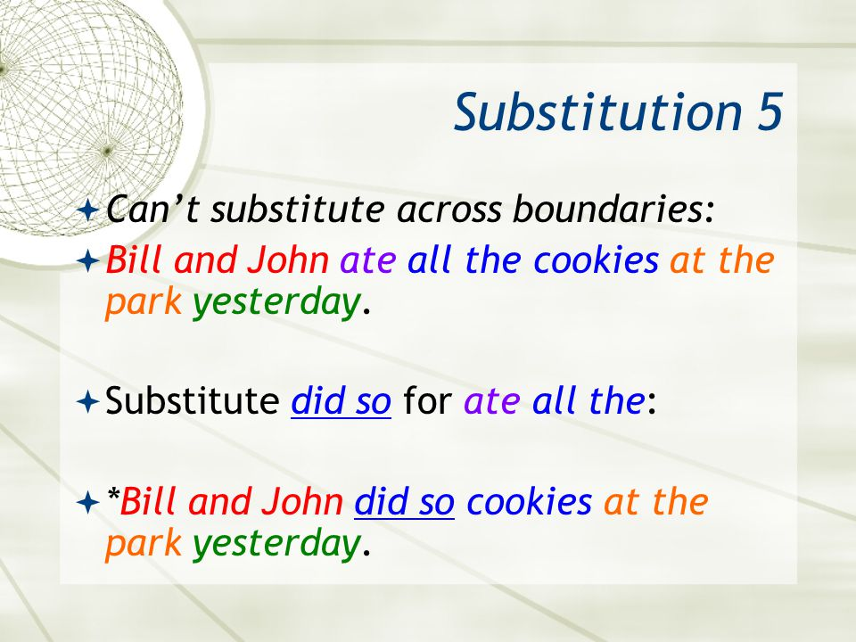 Substitution 5 Can't substitute across boundaries:
