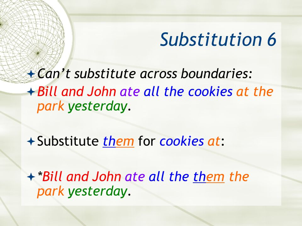 Substitution 6 Can't substitute across boundaries: