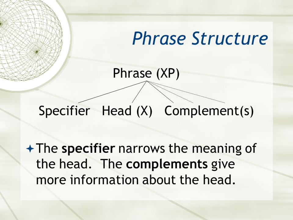 Specifier Head (X) Complement(s)