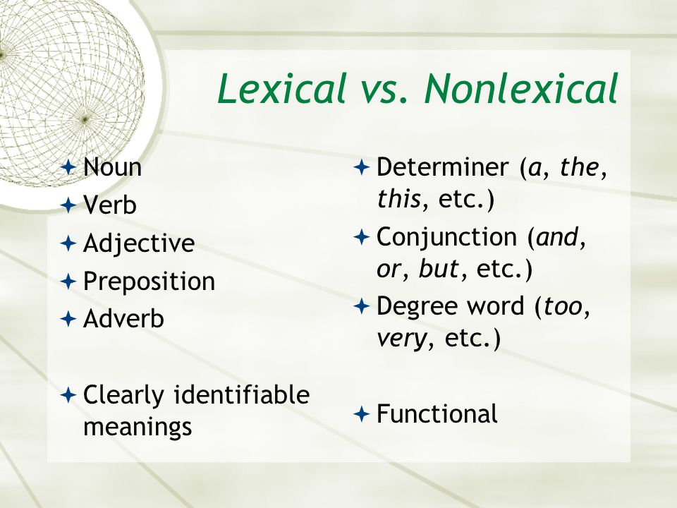 Lexical vs. Nonlexical Noun Verb Adjective Preposition Adverb
