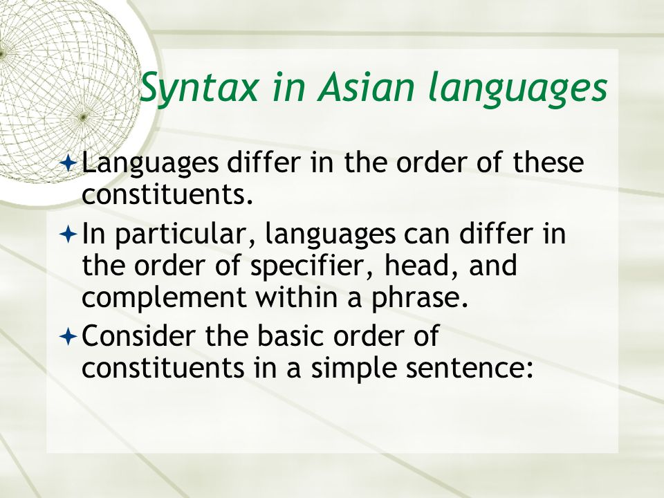 Syntax in Asian languages