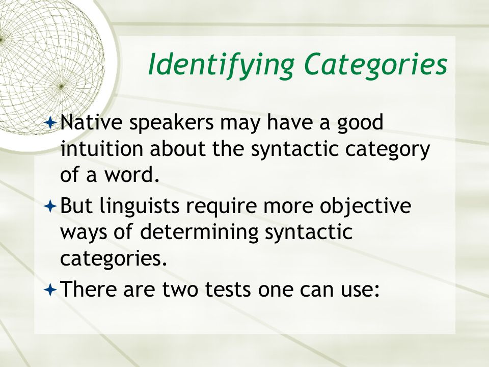 Identifying Categories