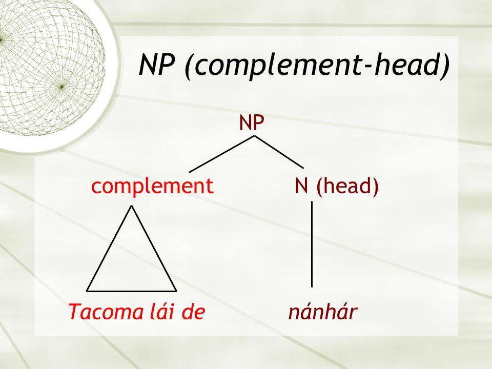 NP (complement-head) NP complement N (head) Tacoma lái de nánhár