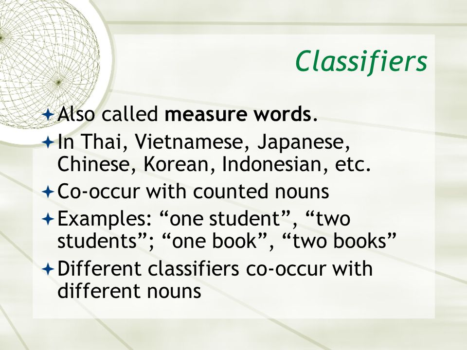 Classifiers Also called measure words.