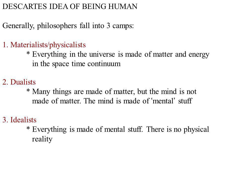 DESCARTES IDEA OF BEING HUMAN