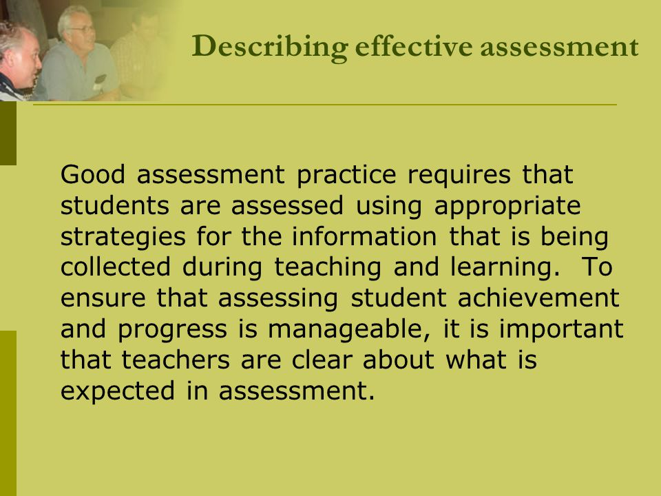 Describing effective assessment