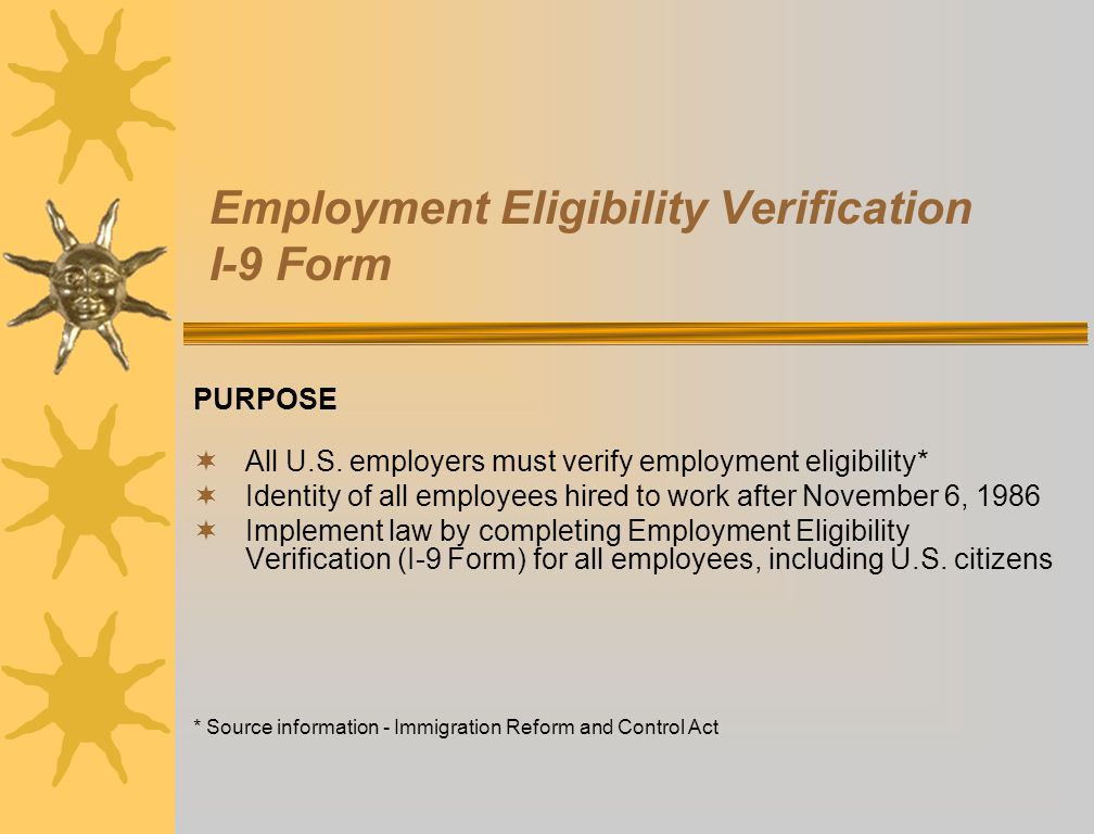 Employment Eligibility Verification I-9 Form