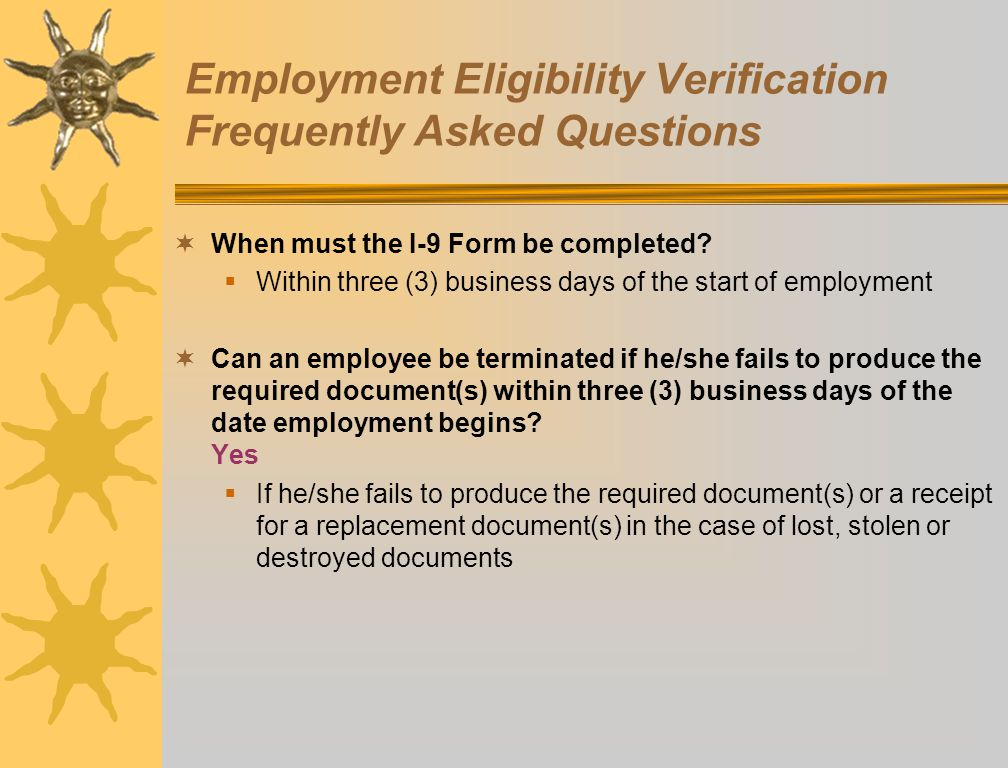 Employment Eligibility Verification Frequently Asked Questions