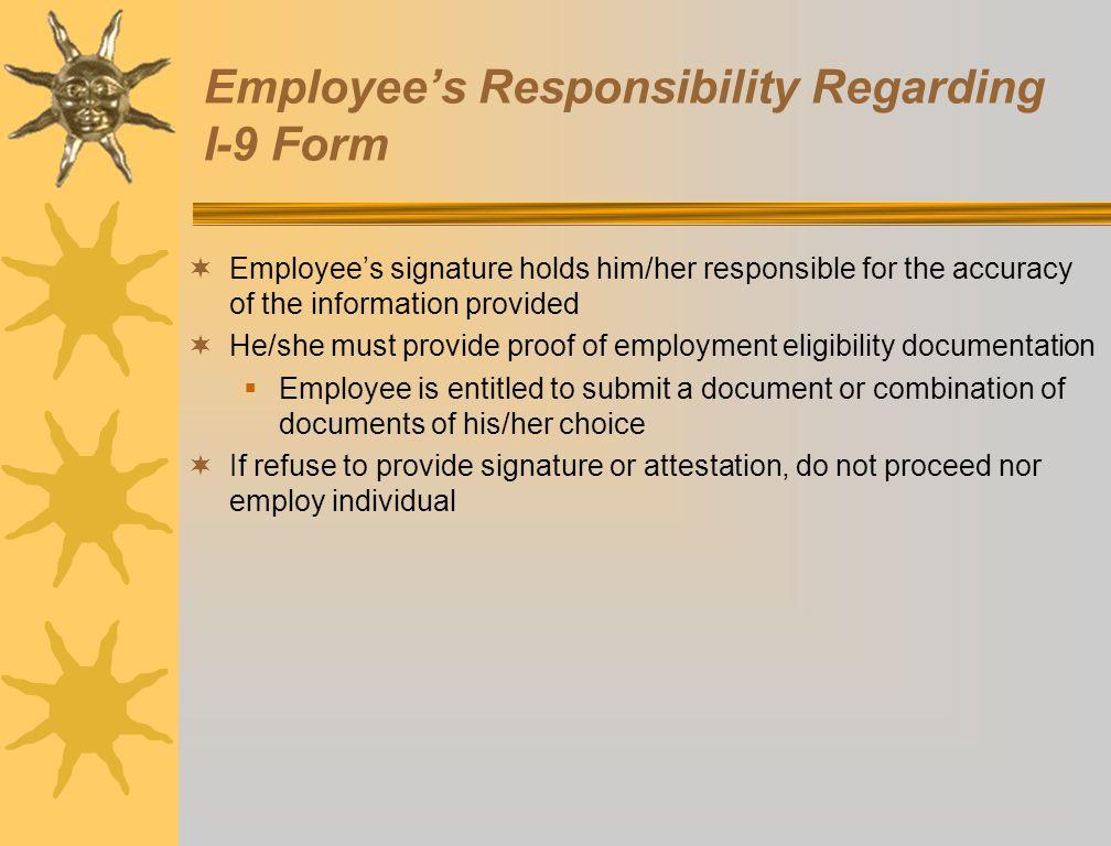 Employee's Responsibility Regarding I-9 Form