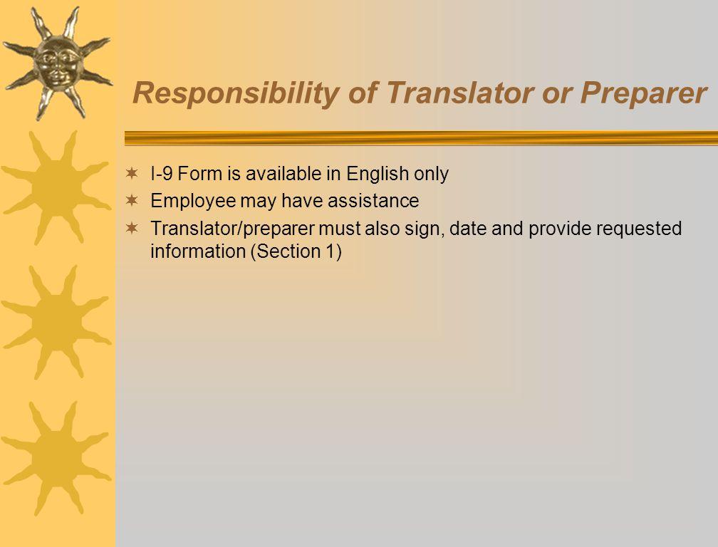 Responsibility of Translator or Preparer