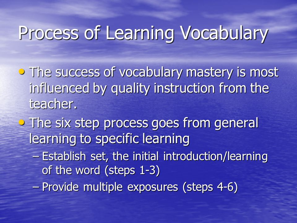 Process of Learning Vocabulary