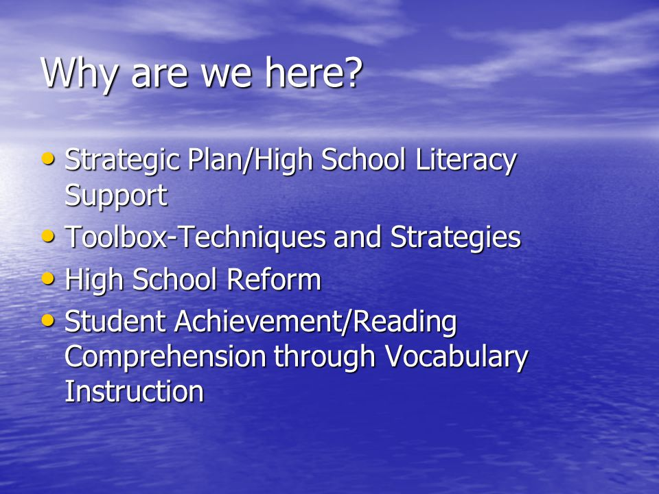 Why are we here Strategic Plan/High School Literacy Support