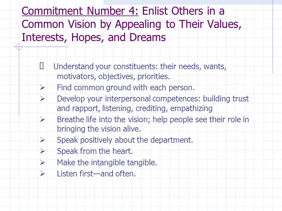 Commitment Number 4: Enlist Others in a Common Vision by Appealing to Their Values, Interests, Hopes, and Dreams