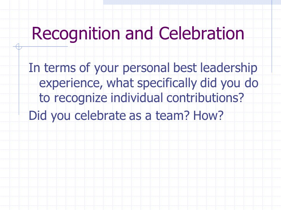 Recognition and Celebration