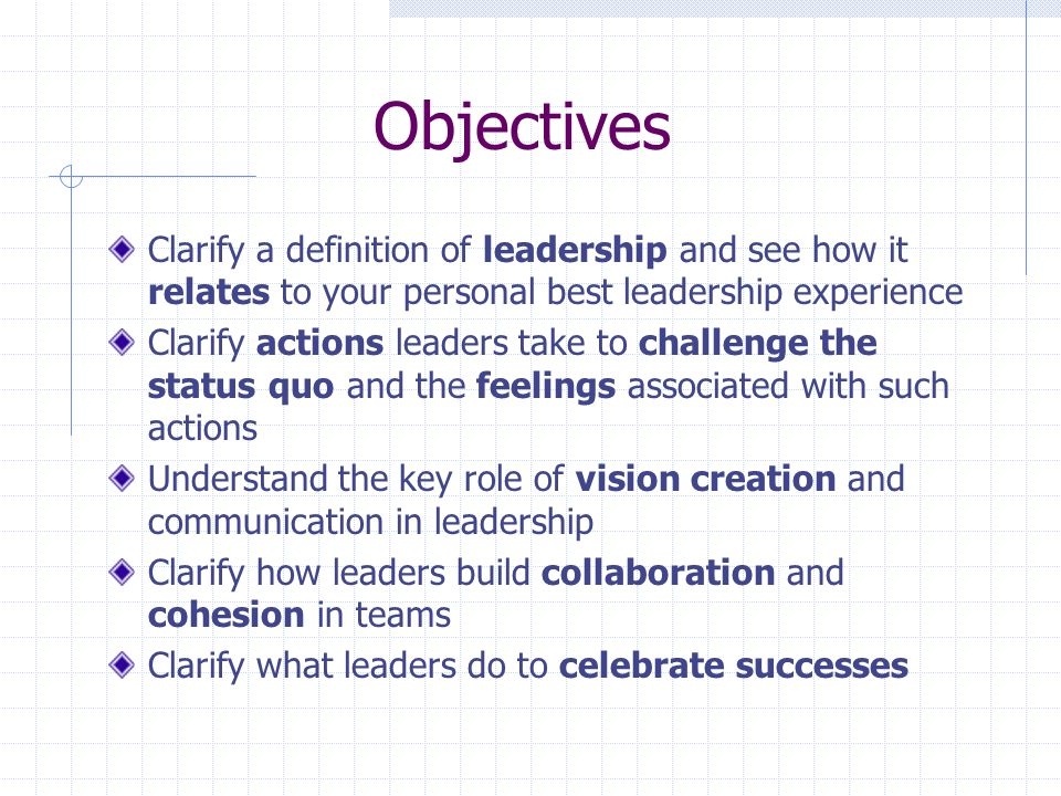Objectives Clarify a definition of leadership and see how it relates to your personal best leadership experience.