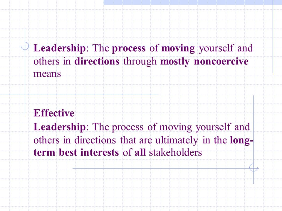 Leadership: The process of moving yourself and others in directions through mostly noncoercive means Effective Leadership: The process of moving yourself and others in directions that are ultimately in the long-term best interests of all stakeholders