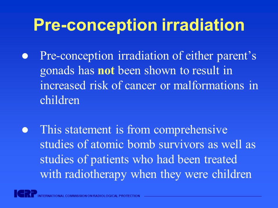 Pre-conception irradiation