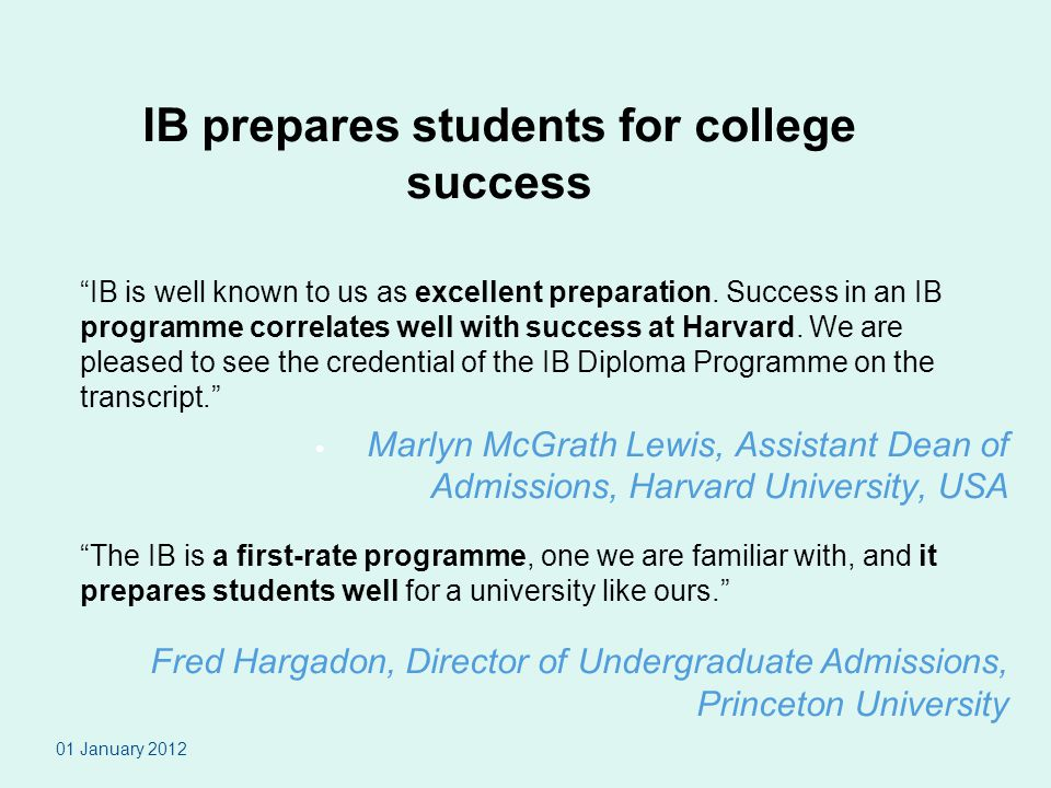 IB prepares students for college success