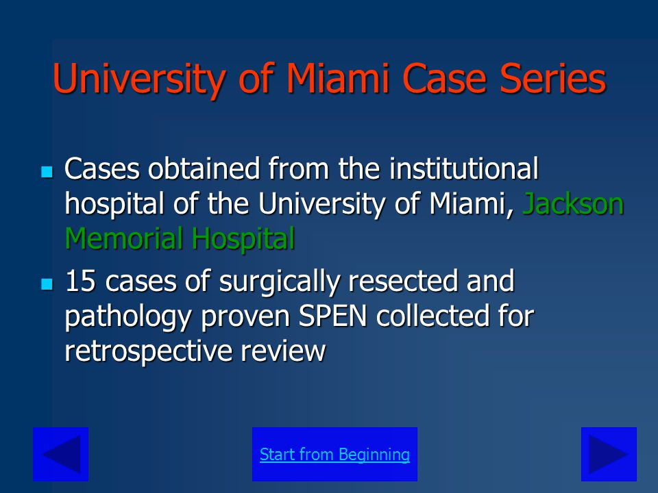 University of Miami Case Series
