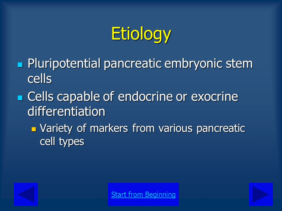 Etiology Pluripotential pancreatic embryonic stem cells
