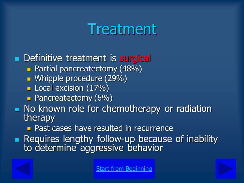 Treatment Definitive treatment is surgical