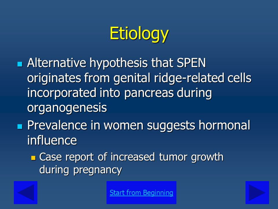 Etiology Alternative hypothesis that SPEN originates from genital ridge-related cells incorporated into pancreas during organogenesis.