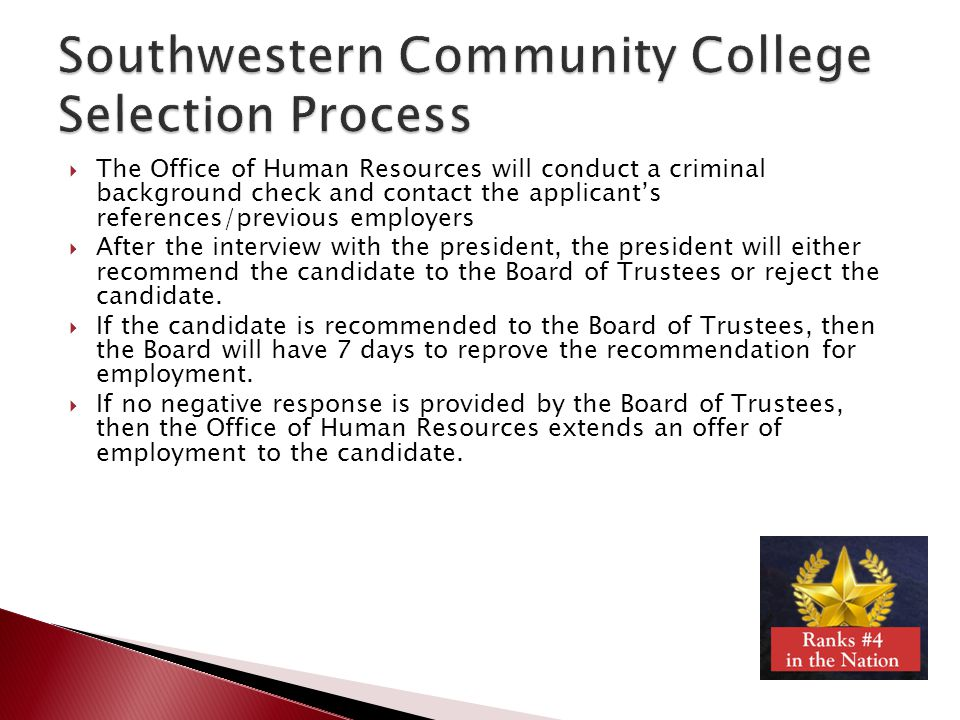 Southwestern Community College Selection Process